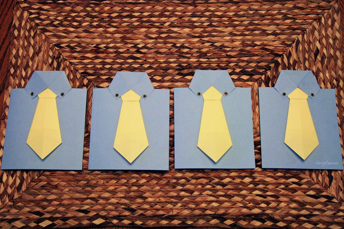 blue girl presents: origami tie greeting cards 2011