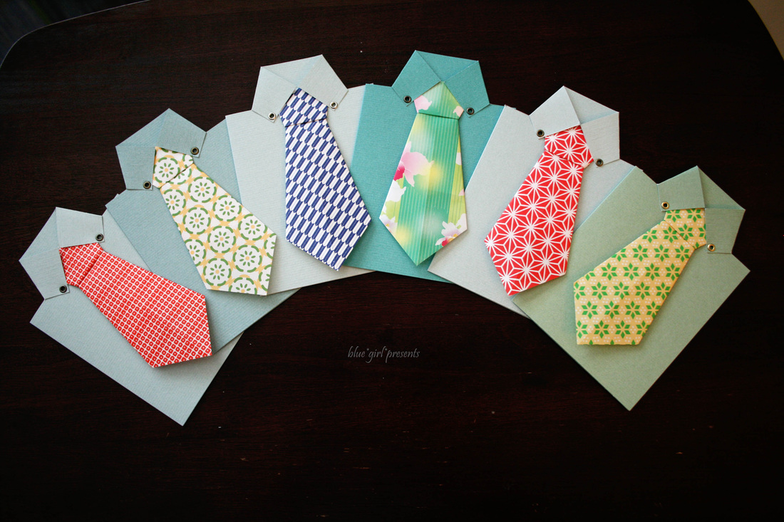 blue girl presents: origami tie cards 2010
