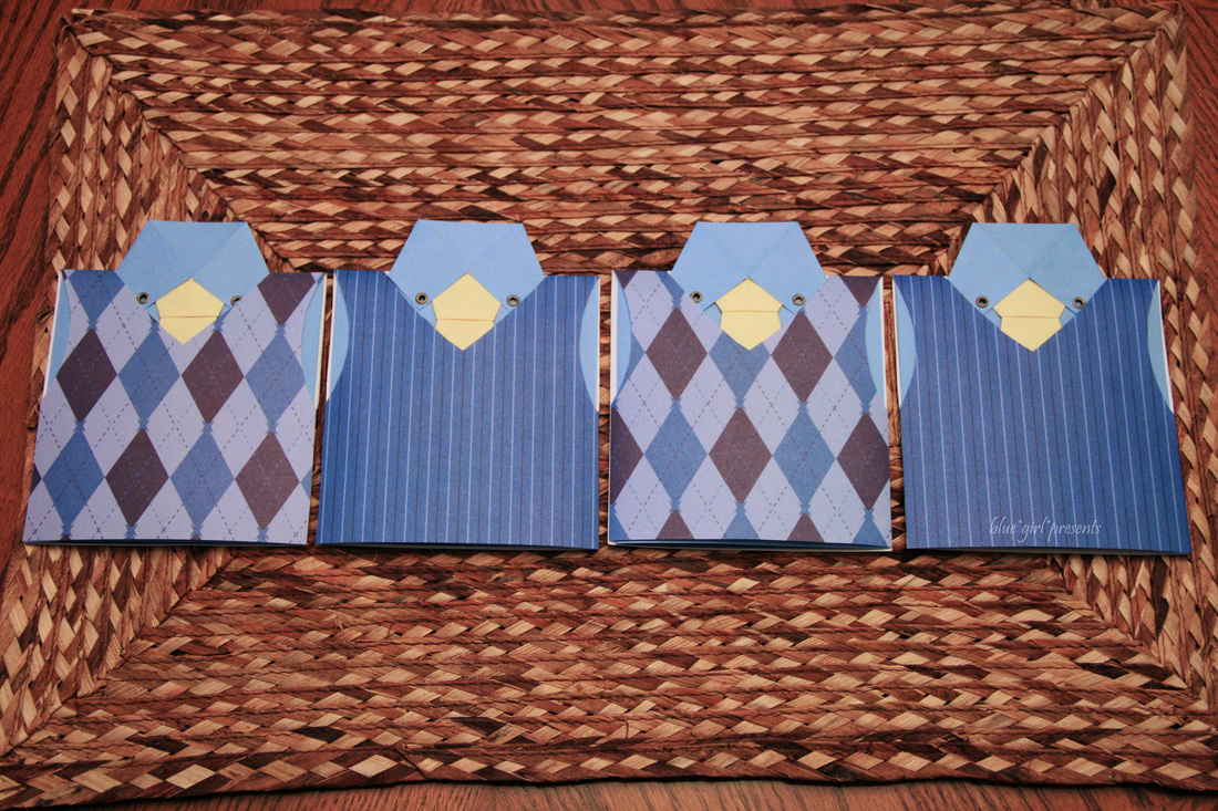 blue girl presents: vested origami tie greeting cards 2011