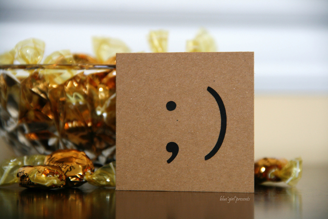 wink emoticon mini notecard