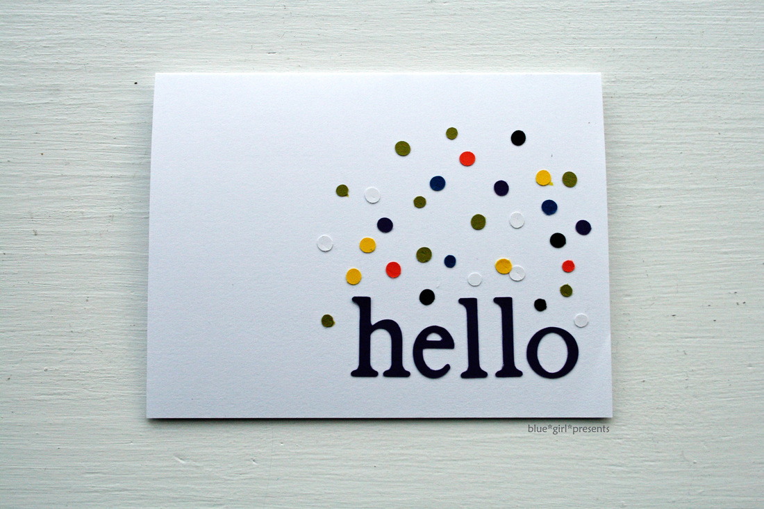 blue girl presents: confetti hello greeting card