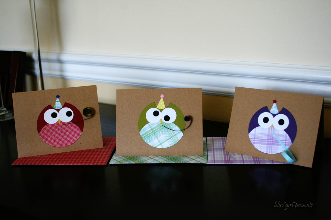 blue girl presents: party owls greeting cards