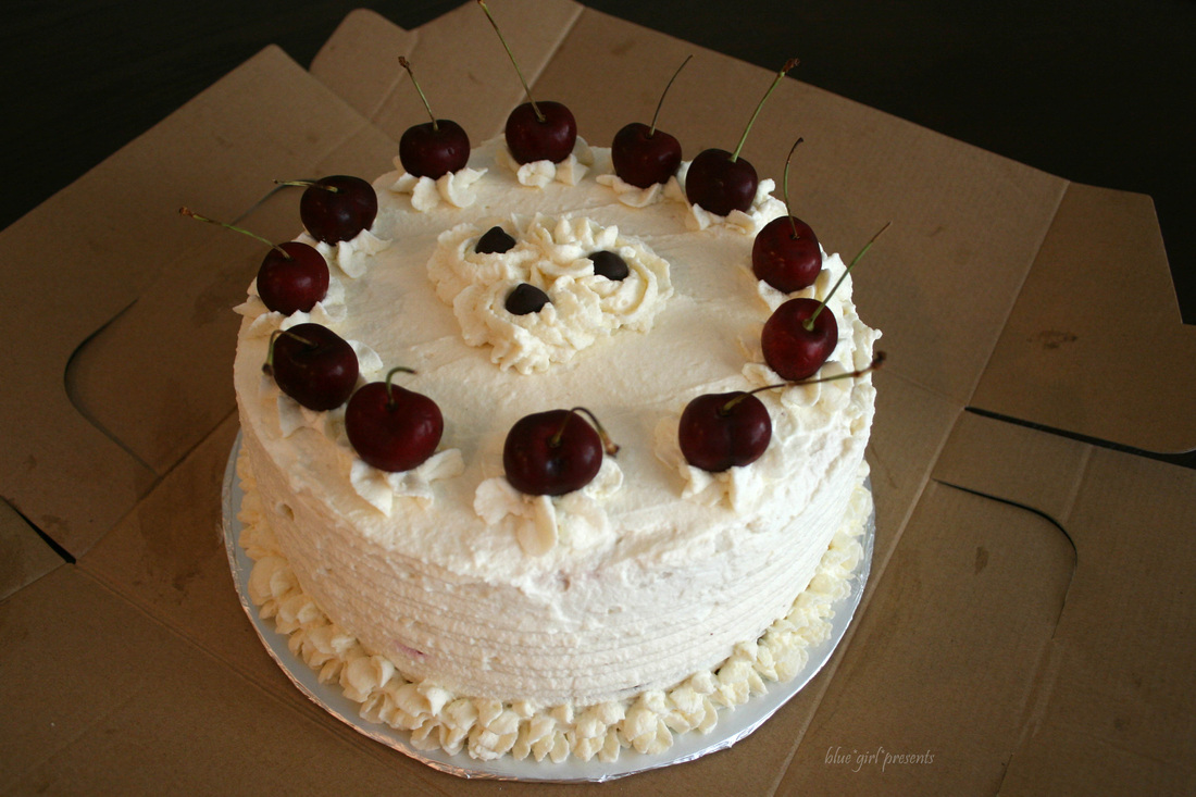 blue girl presents: black forest cake