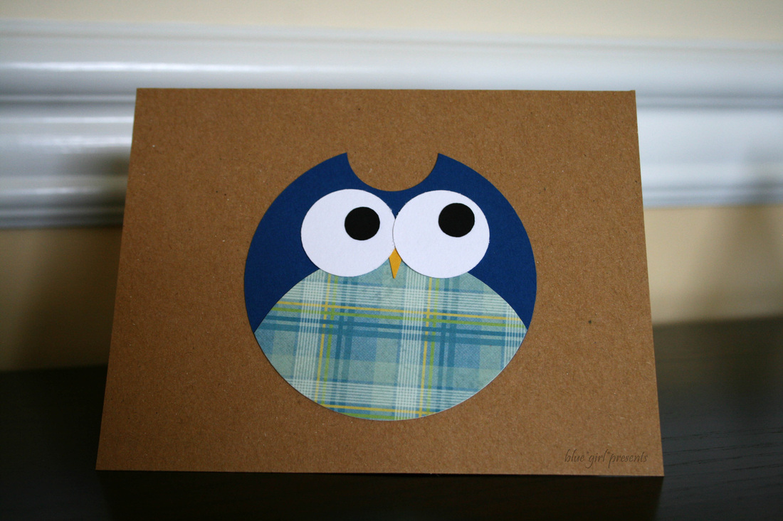 blue girl presents: owl greeting card using simple shapes