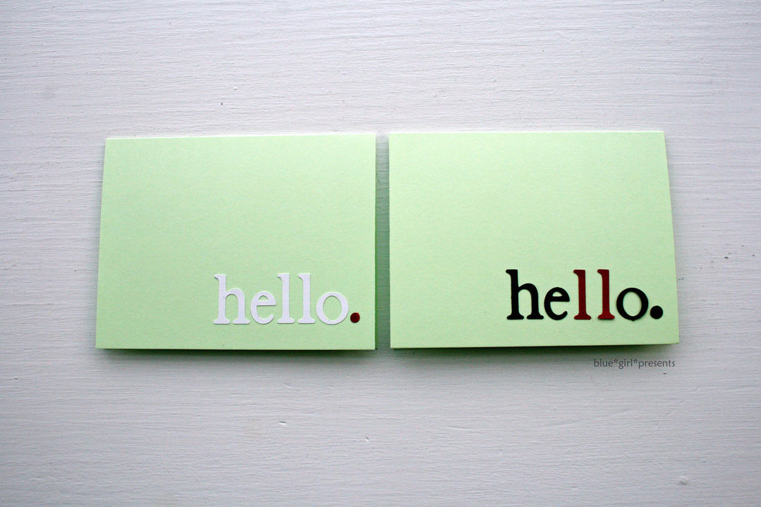 blue girl presents: hello greeting cards