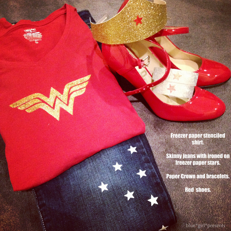 blue girl presents:Ingredients for Suburban Wonder Woman Costume