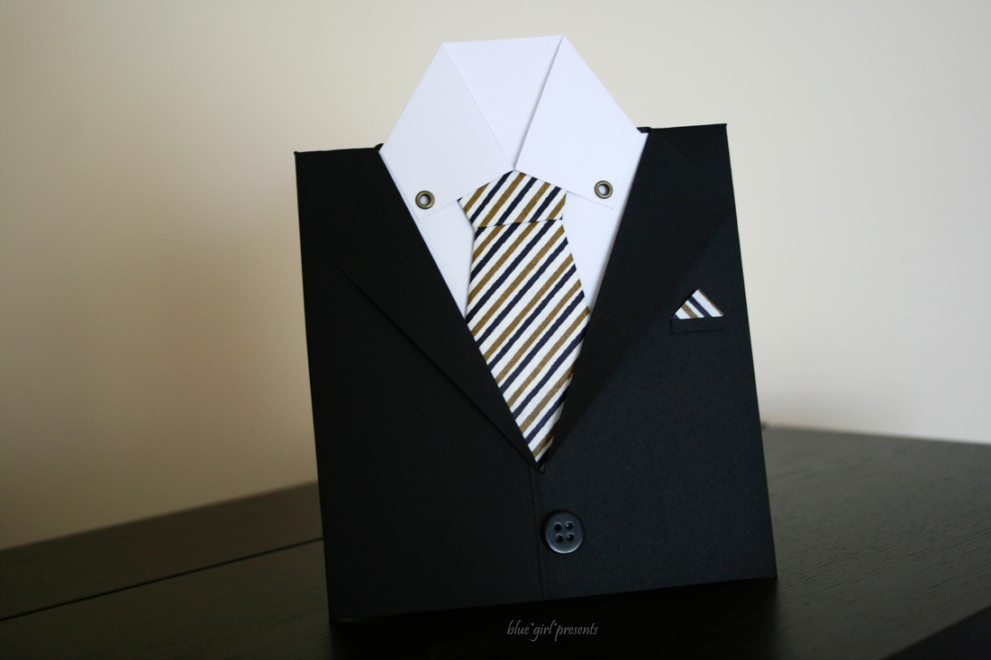 blue girl presents: suit & tie greeting card