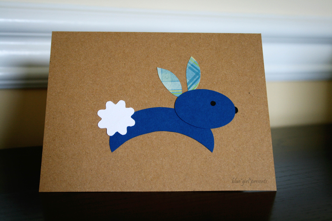 blue girl presents: bunny rabbit greeting card using simple shapes
