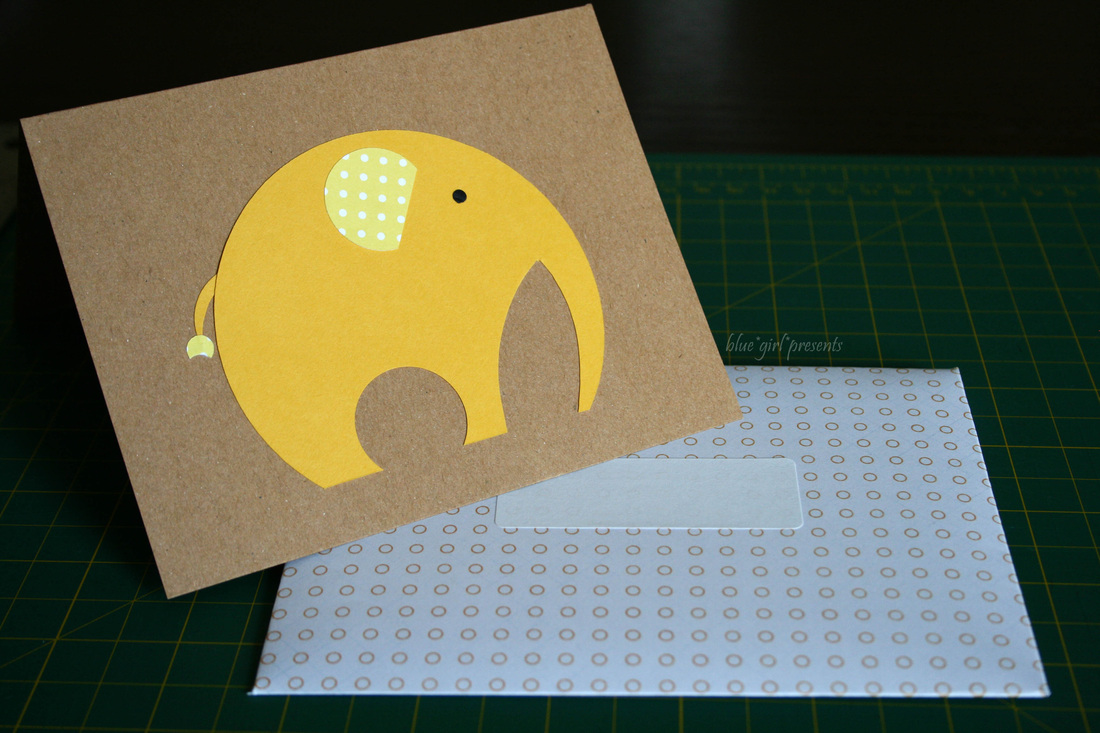 blue girl presents: elephant card. scrapbook paper envelopes