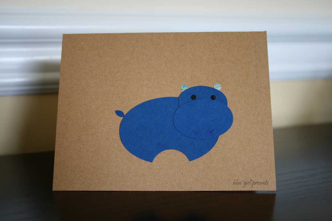 blue girl presents: hippo greeting card using simple shapes
