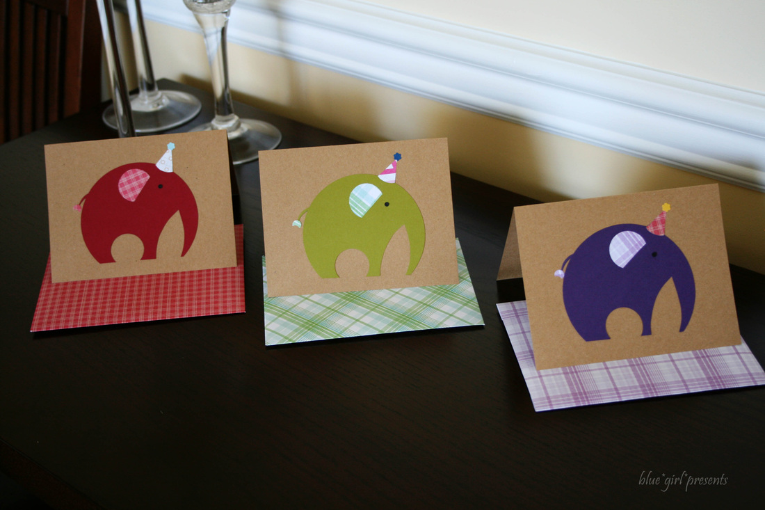 blue girl presents: parade of party elephant greeting cards