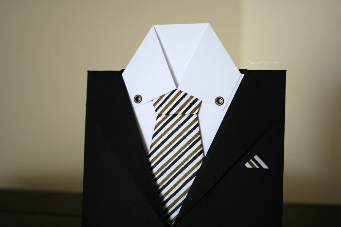 blue girl presents: suit greeting card