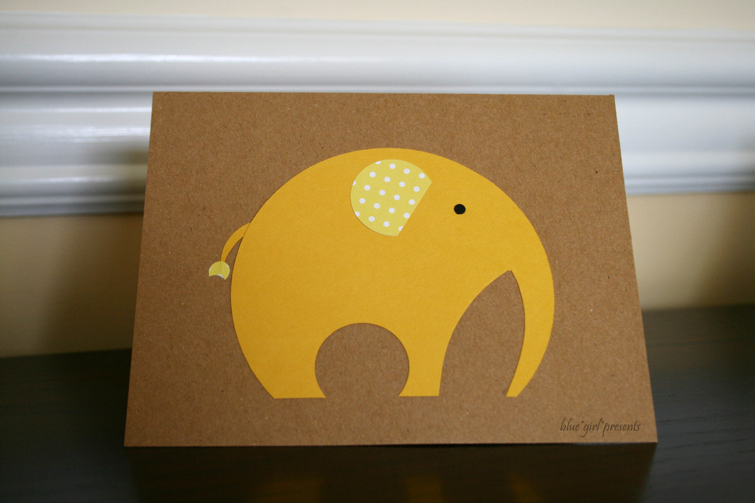 blue girl presents: elephant greeting card using simple shapes